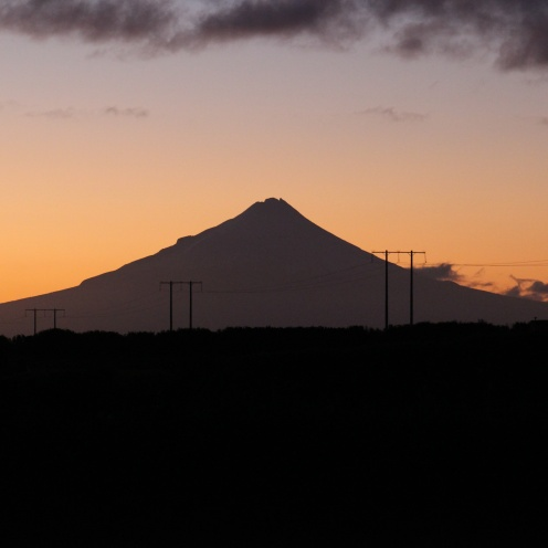 Mount Taranaki, from our bedroom window